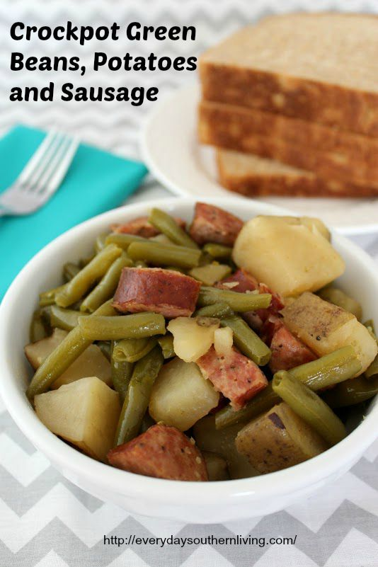 Crockpot Green Beans, Potatoes and Sausage